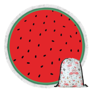 Clear Watermelon Round Beach Towel with Bag