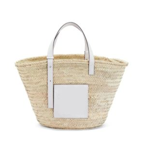 Straw and white leather beach basket