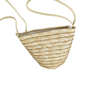 Small straw beach bag with shoulder strap produced