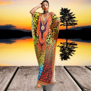 African sarong dress with colorful print product