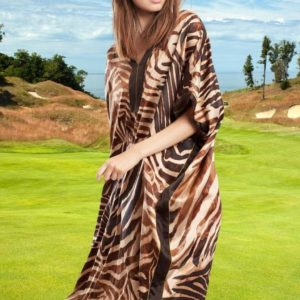 African pareo dress with brown zebra print 2