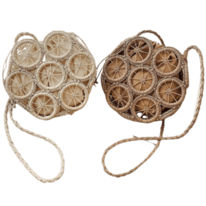 Straw and rattan beach bag produced
