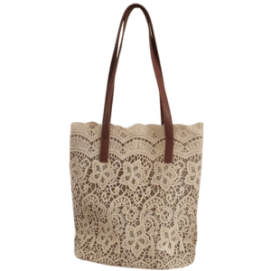 Brown lace beach bag for women