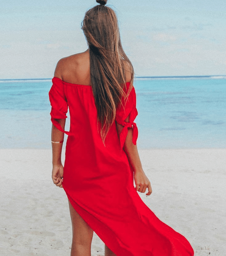 Red Off Shoulder Beach Dress With Back