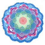 Round beach towel in the shape of a red blue mandala product