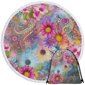 Round beach towel with flowers and mandala + bag