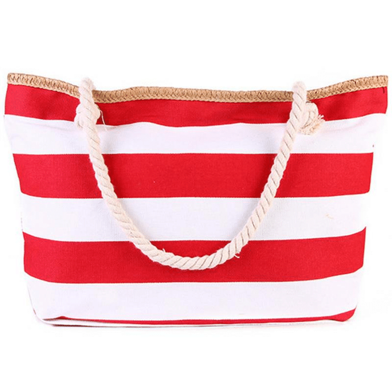 Large XXL beach bag in red striped canvas