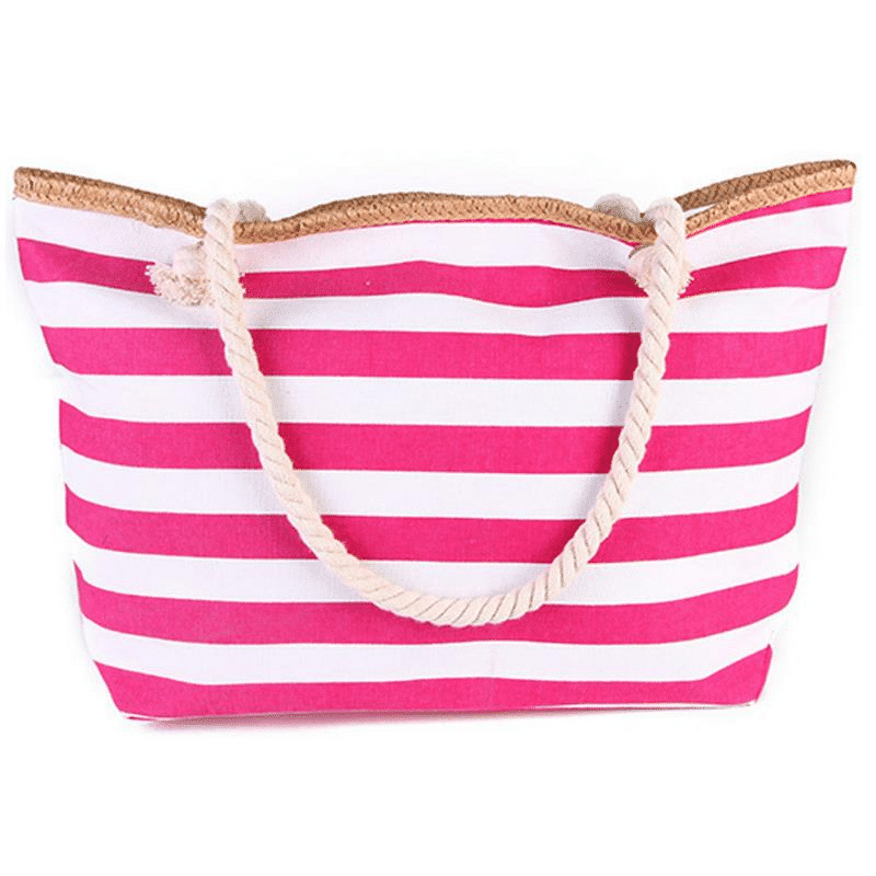Large XXL beach bag in pink striped canvas