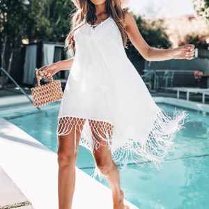 White sarong dress with fringes product