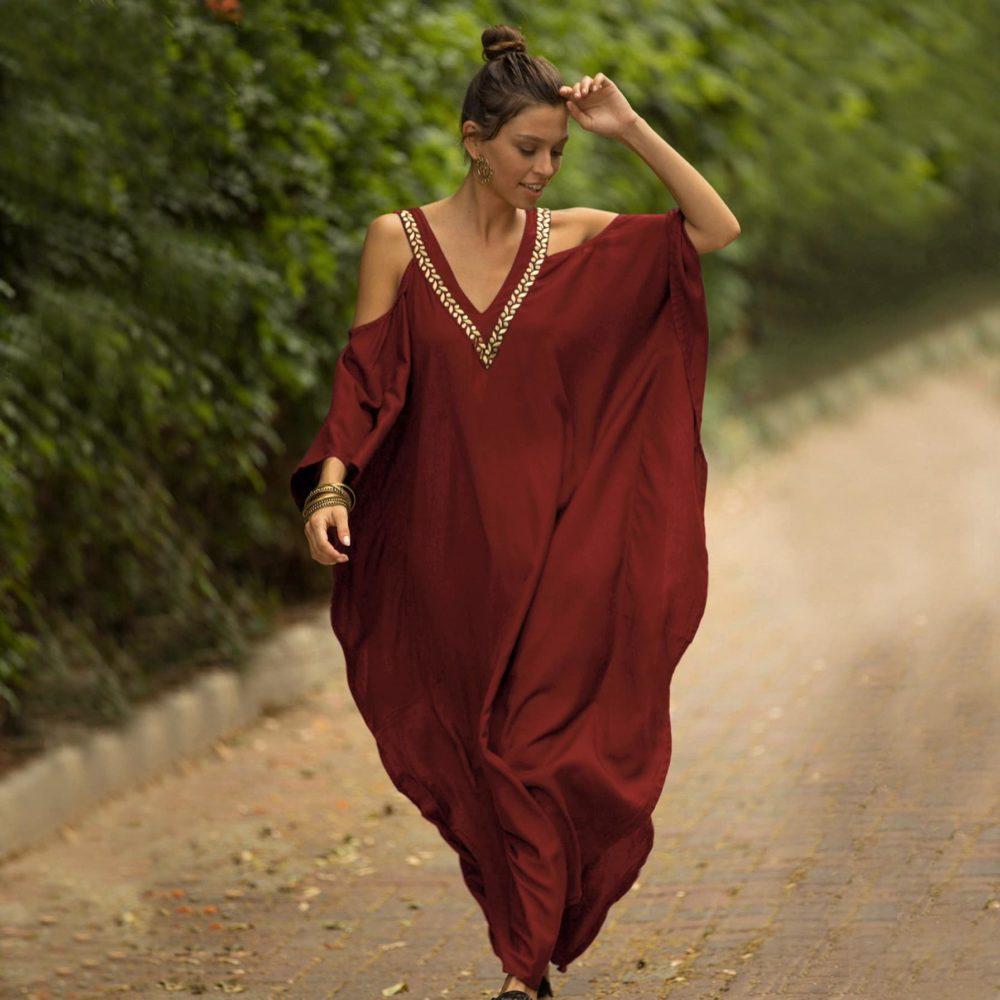 Red African-inspired sarong dress